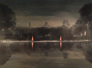 "The Wanda Croup painting, included in the 100 Masters, entitled ""Native Fires"" is ""a poetic and political mediation on the legacy of colonialism in Winnipeg. It captures a long-standing divide within the city between the First Nations community which had gathered at campfires along the city's river shores, and the institutions of government, jurisprudence and religion""."